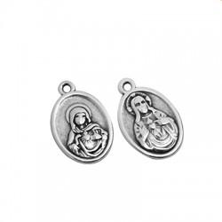 Zamak Charm Oval Virgin Mary w/ Jesus 16x22mm