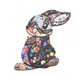 Wooden Pendant Bunny 72x78mm