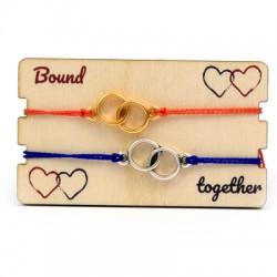 Wooden Card 85x50mm w/ 2 Bracelets Set Round