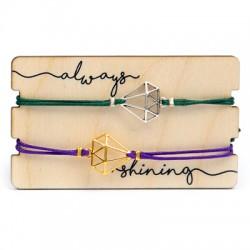 Wooden Card 85x50mm w/ 2 Bracelets Set Diamond