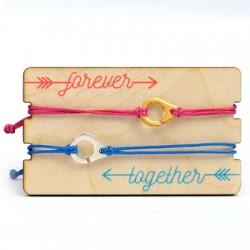 Wooden Card 85x50mm w/ 2 Bracelets Set Cuffs
