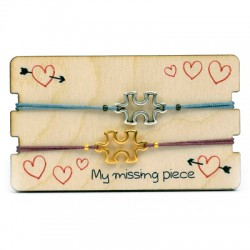 Wooden Card 85x50mm w/ 2 Bracelets Set Puzzle