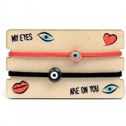 Wooden Card 85x50mm w/ 2 Bracelets Ceramic Eye