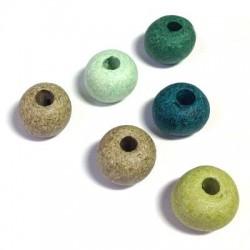 Perle Céramique effet Jaspé Mat 16mm