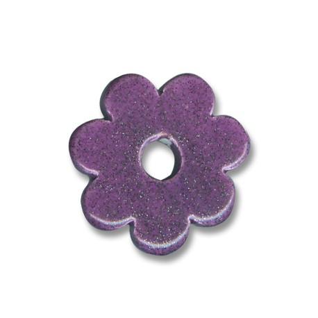 Passante Ciondolo Fiore In Ceramica Smaltata 32mm (Ø 7mm)