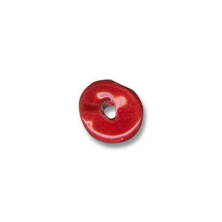 Passante Disco Irregolare in Ceramica Smaltata 16mm (Ø 4mm)