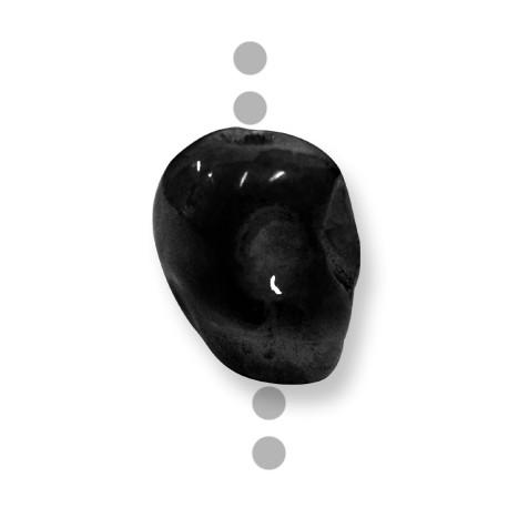Κεραμική Χάντρα Νεκροφαλή Περαστή με Σμάλτο 20mm