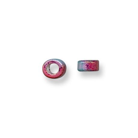 Enamel-Glazed One Color Ceramic Slider Tube Rondelle 5mm (Ø 5.5mm)