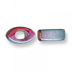 Enamel-Glazed One Color Ceramic Slider Eye for Regaliz Leather 10mm (Ø 11x8mm)