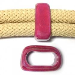Κεραμική Χάντρα Πλακέ με Σμάλτο 17x25mm/10mm (Ø20x10mm)