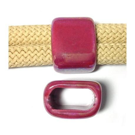 Enamel-Glazed One Color Ceramic Slider Oval Tube 17x25x10mm (Ø20x10mm)