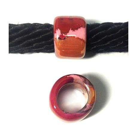 Enamel-Glazed Multi Color Ceramic Slider Tube 22x15mm (Ø 15mm)