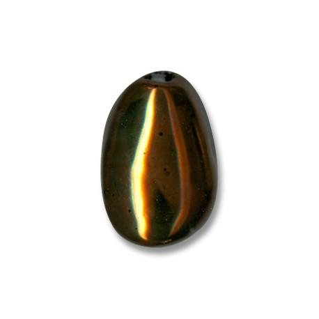 Κεραμική Χάντρα Σταγόνα Οβάλ Περαστή με Σμάλτο 30mm (Ø5mm)