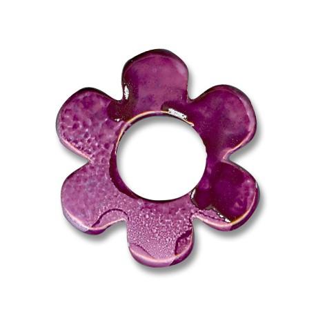 Enamel-Glazed Multi Color Ceramic Pendant Round Flower 42mm (Ø 16mm)