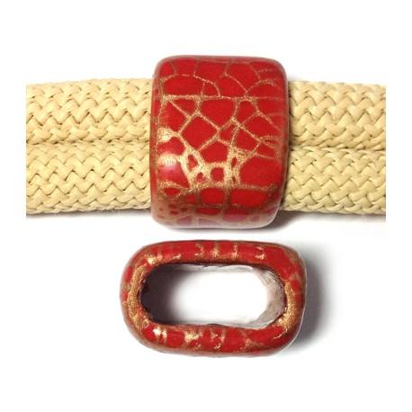 Tubo Passante in Ceramica Smaltata Craccata 17x26x20mm (Ø20x10mm)