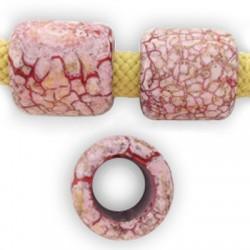 Tube Céramique Marbré Émaillé 19x20mm (Ø 11mm)