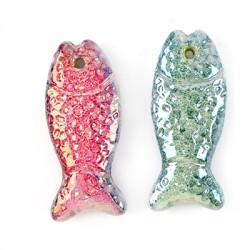 Ciondolo di Ceramica Smaltata Pesce 70x30mm