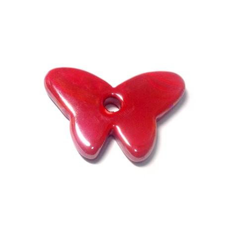 Passante Ciondolo Farfalla in Ceramica Smaltata 45x30mm (Ø 5mm)