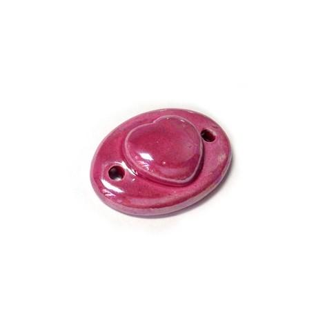 Enamel Ceramic Oval Heart w/ 2 Holes 28x20mm
