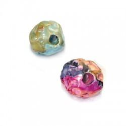 Perle Céramique Irrégulière Émaillée 16mm (Ø 3,5mm)