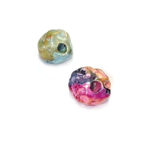 Enamel Ceramic Irregular Bead 16mm (Ø 3.5mm)