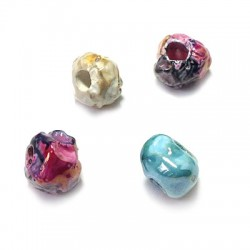 Perle Céramique Irrégulière Émaillée 12mm (Ø 3,5mm)