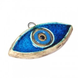 Enamel Ceramic Pendant Evils Eye Stonewashed 55x25mm