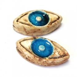Enamel Ceramic Slider Evils Eye Stonewashed 24x12mm (Ø 1.7mm)