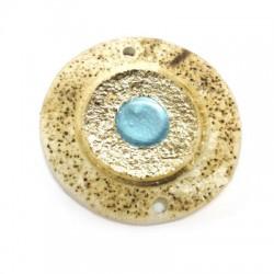 Ciondolo in Ceramica Grezza Disco 53mm con Occhio Turco Smaltato