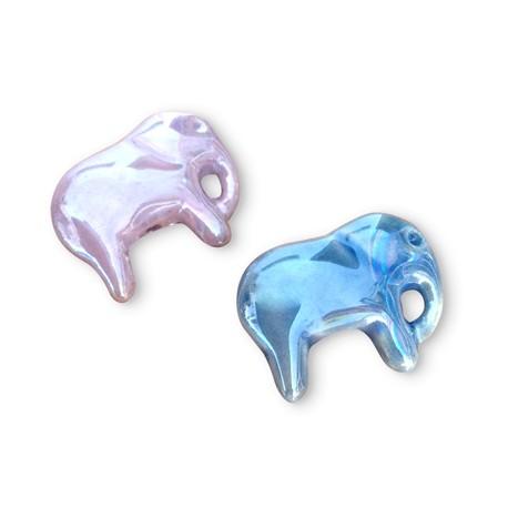 Enamel Ceramic Slider Elephant 28x24mm (Ø 2mm)