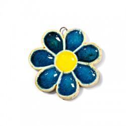 Ceramic Pendant Flower with Enamel 54mm