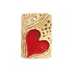 Enamel Ceramic Pendant w/ Heart 41x59mm