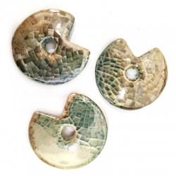 Ceramic Pendant Round Irregular w/ Enamel 49mm