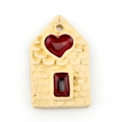 Ceramic Pendant House Heart w/ Enamel 35x56mm