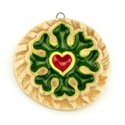 Ceramic Pendant Round Flower Heart w/ Enamel 58mm