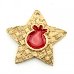 Ceramic Pendant Star Pomegranate 67x64mm