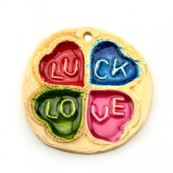 "Ceramic Pendant Four Lead Clover ""Luck- Love"" 65mm"
