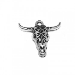 Zamak Pendant Bull's Head 25x22mm