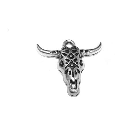 Zamak Pendant Bull's Head 25x22mm