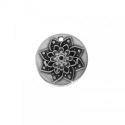 Zamak Charm Round w/ Flower 22mm