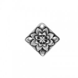 Zamak Charm Rhombus w/ Flower 22mm