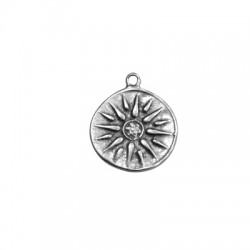 Zamak Charm Round Vergina Sun 23mm