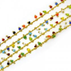 Brass Chain w/ Glass Bead 12mm