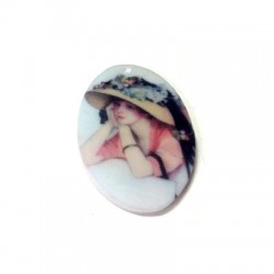 Cabochon Ovale Stampato in Resina 29x39mm