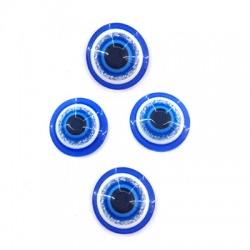 Perle aplatie en Résine 6mm avec œil porte-bonheur