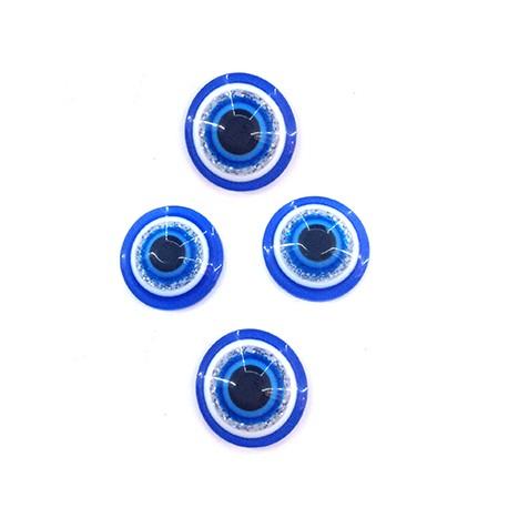 Perlina Schiacciata in Resina 6mm con Occhio Portafortuna