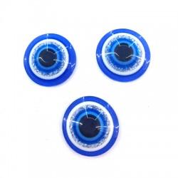 Perle aplatie en Résine 8mm avec œil porte-bonheur