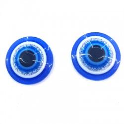 Perle aplatie en Résine 10mm avec œil porte-bonheur