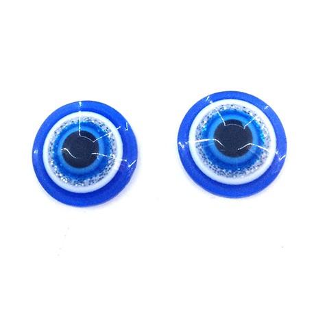 Perlina Schiacciata in Resina 10mm con Occhio Portafortuna