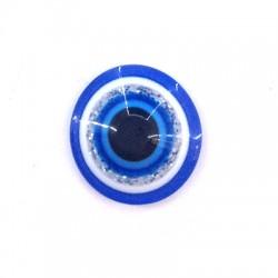 Perle aplatie en Résine 12mm avec œil porte-bonheur